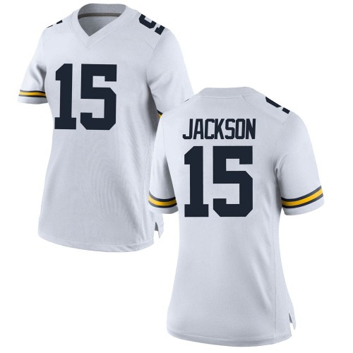 Women's Giles Jackson Michigan Wolverines Replica White Brand Jordan Football College Jersey