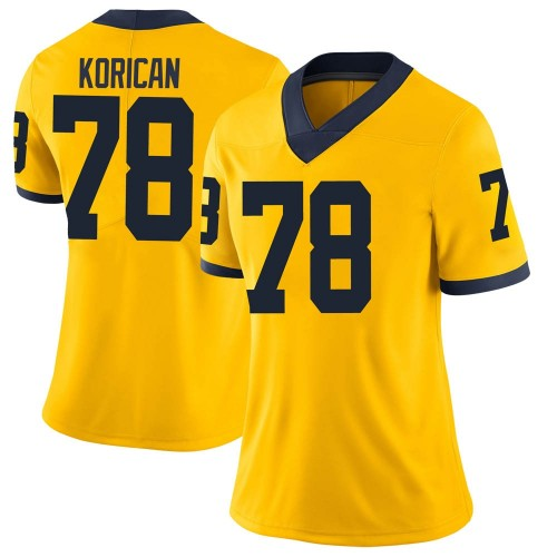 Women's Griffin Korican Michigan Wolverines Limited Brand Jordan Maize Football College Jersey