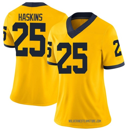 Women's Hassan Haskins Michigan Wolverines Limited Brand Jordan Maize Football College Jersey