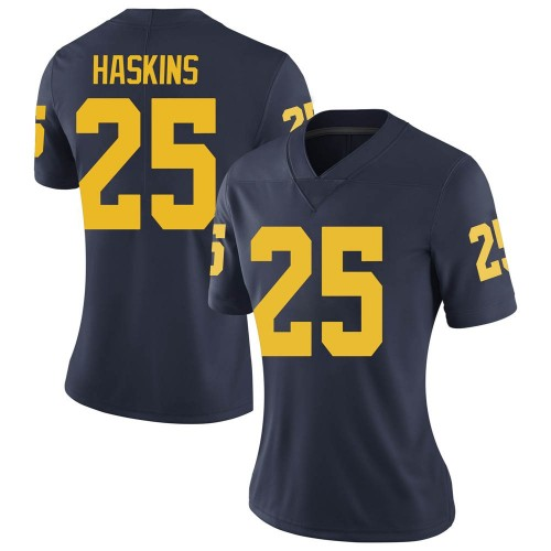 Women's Hassan Haskins Michigan Wolverines Limited Navy Brand Jordan Football College Jersey