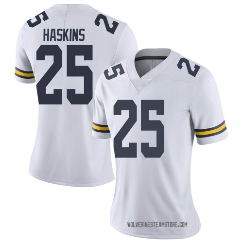Women's Hassan Haskins Michigan Wolverines Limited White Brand Jordan Football College Jersey
