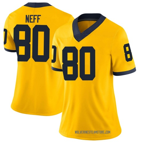 Women's Hunter Neff Michigan Wolverines Limited Brand Jordan Maize Football College Jersey