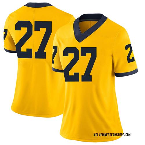 Women's Hunter Reynolds Michigan Wolverines Limited Brand Jordan Maize Football College Jersey