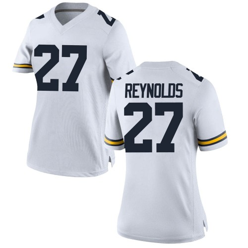 Women's Hunter Reynolds Michigan Wolverines Replica White Brand Jordan Football College Jersey