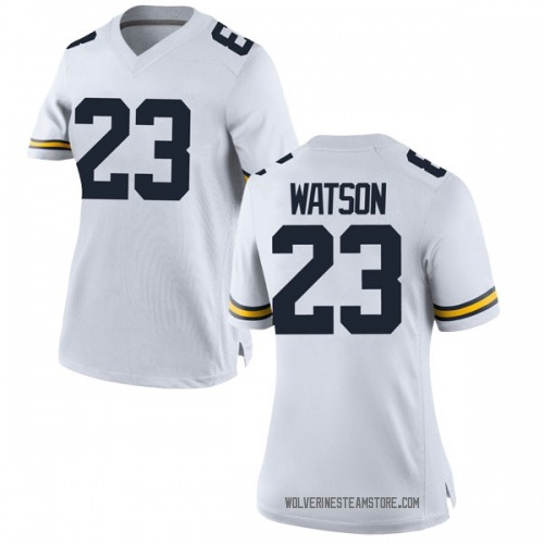 Women's Ibi Watson Michigan Wolverines Replica White Brand Jordan Football College Jersey