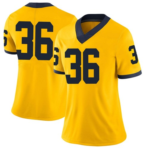 Women's Izaak Gerkis Michigan Wolverines Limited Brand Jordan Maize Football College Jersey