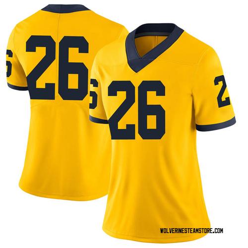 Women's J'Marick Woods Michigan Wolverines Limited Brand Jordan Maize Football College Jersey