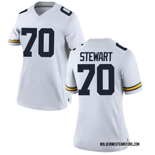 Women's Jack Stewart Michigan Wolverines Game White Brand Jordan Football College Jersey