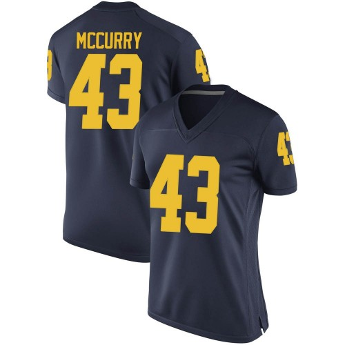 Women's Jake McCurry Michigan Wolverines Game Navy Brand Jordan Football College Jersey