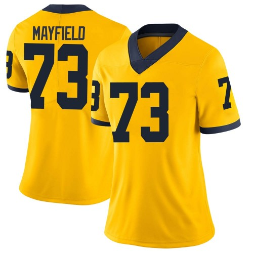 Women's Jalen Mayfield Michigan Wolverines Limited Brand Jordan Maize Football College Jersey