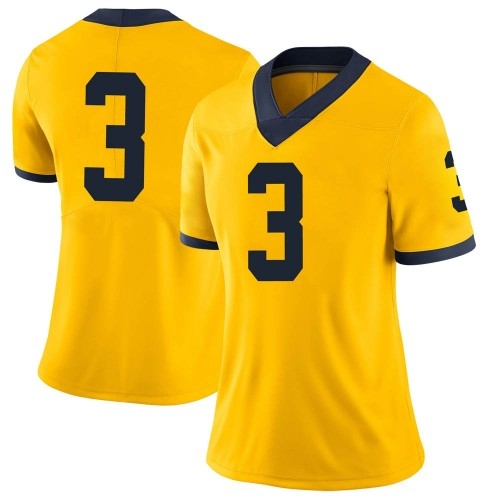 Women's Jalen Perry Michigan Wolverines Limited Brand Jordan Maize Football College Jersey