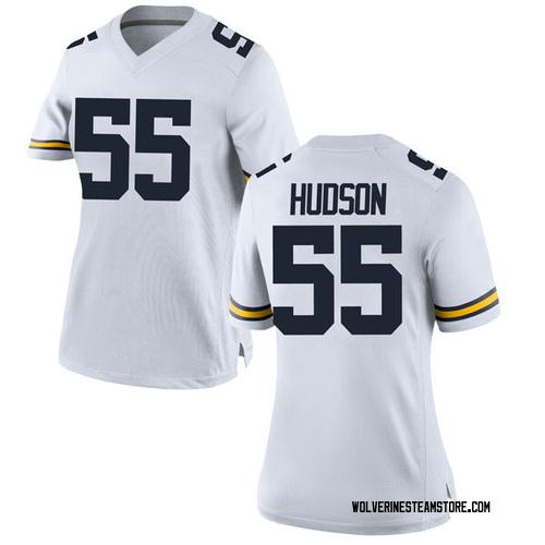 Women's James Hudson Michigan Wolverines Replica White Brand Jordan Football College Jersey