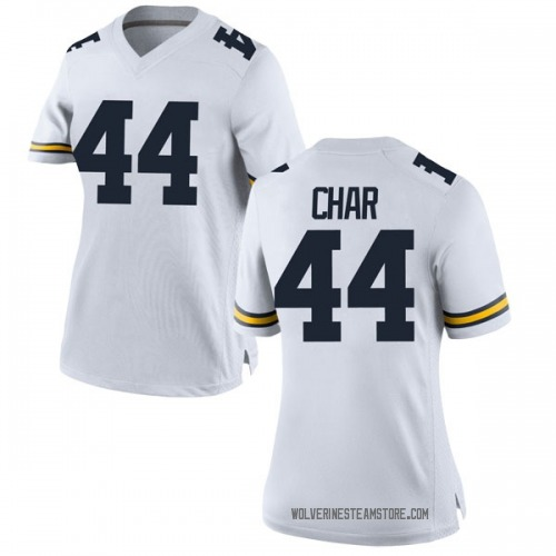 Women's Jared Char Michigan Wolverines Replica White Brand Jordan Football College Jersey