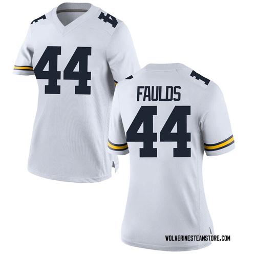 Women's Jaron Faulds Michigan Wolverines Game White Brand Jordan Football College Jersey