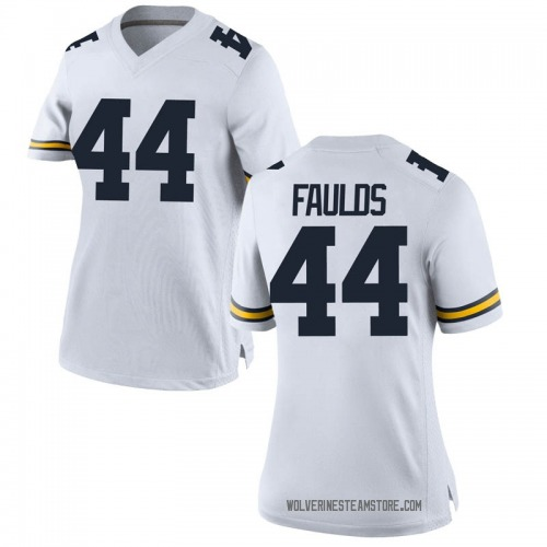Women's Jaron Faulds Michigan Wolverines Replica White Brand Jordan Football College Jersey