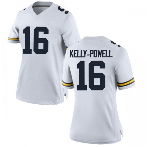 Women's Jaylen Kelly-Powell Michigan Wolverines Game White Brand Jordan Football College Jersey