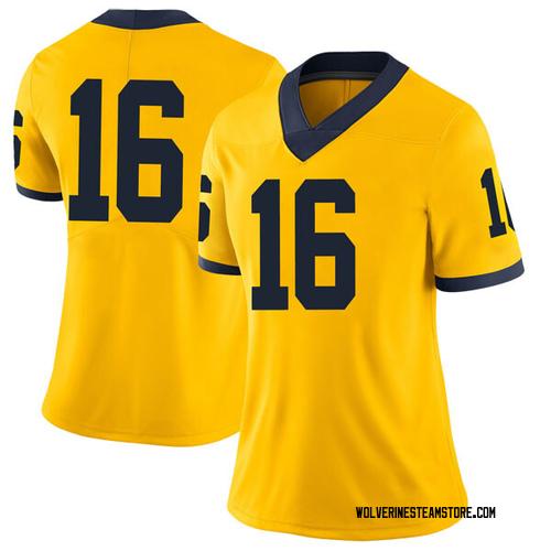 Women's Jaylen Kelly-Powell Michigan Wolverines Limited Brand Jordan Maize Football College Jersey