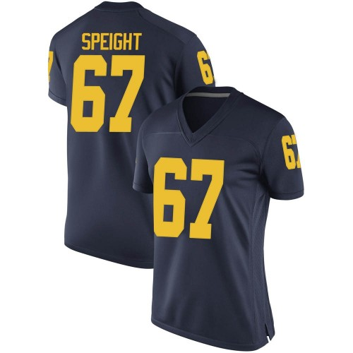 Women's Jess Speight Michigan Wolverines Game Navy Brand Jordan Football College Jersey