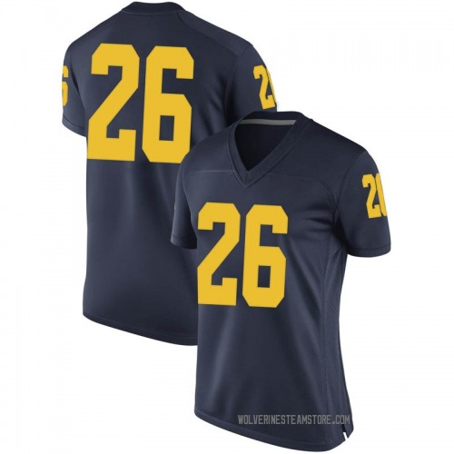 Women's Jmarick Woods Michigan Wolverines Game Navy Brand Jordan Football College Jersey