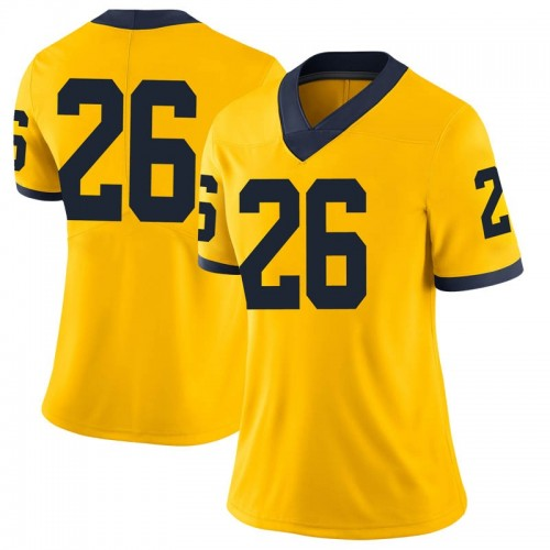 Women's Jmarick Woods Michigan Wolverines Limited Brand Jordan Maize Football College Jersey