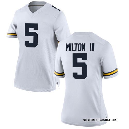 Women's Joe MIlton Michigan Wolverines Replica White Brand Jordan Football College Jersey