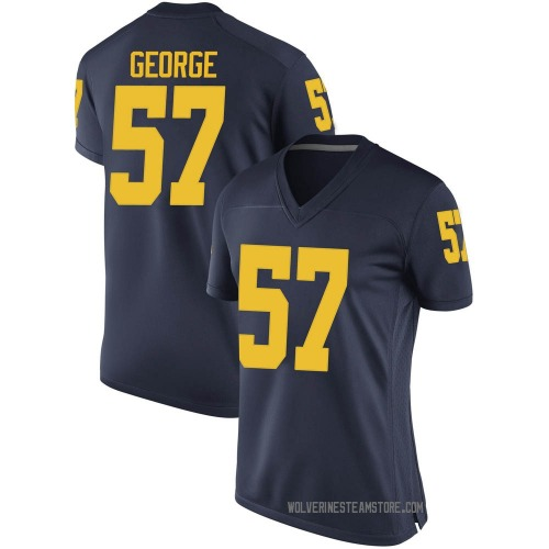 Women's Joey George Michigan Wolverines Game Navy Brand Jordan Football College Jersey