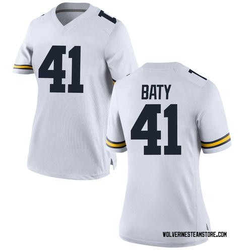 Women's John Baty Michigan Wolverines Replica White Brand Jordan Football College Jersey