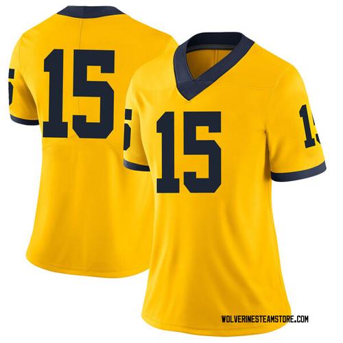 Women's Jon Teske Michigan Wolverines Limited Brand Jordan Maize Football College Jersey