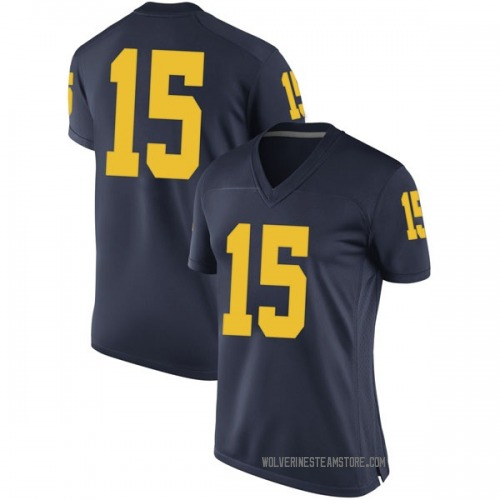 Women's Jon Teske Michigan Wolverines Replica Navy Brand Jordan Football College Jersey