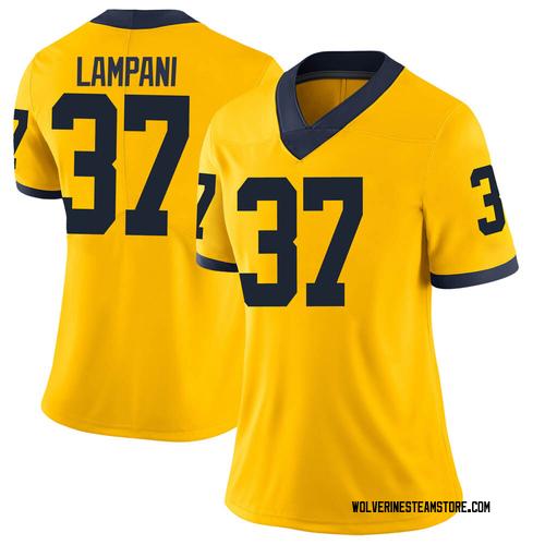 Women's Jonathan Lampani Michigan Wolverines Limited Brand Jordan Maize Football College Jersey