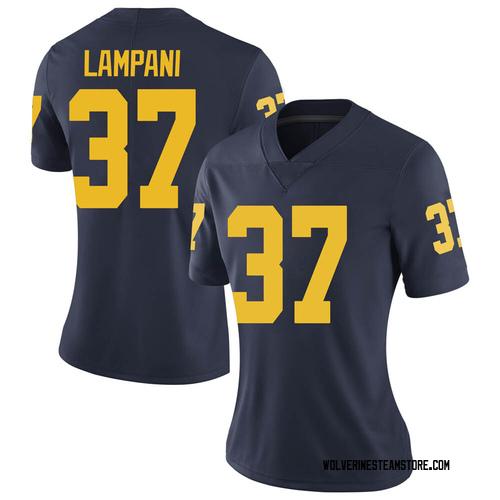 Women's Jonathan Lampani Michigan Wolverines Limited Navy Brand Jordan Football College Jersey