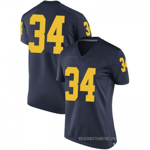 Women's Julian Garrett Michigan Wolverines Game Navy Brand Jordan Football College Jersey