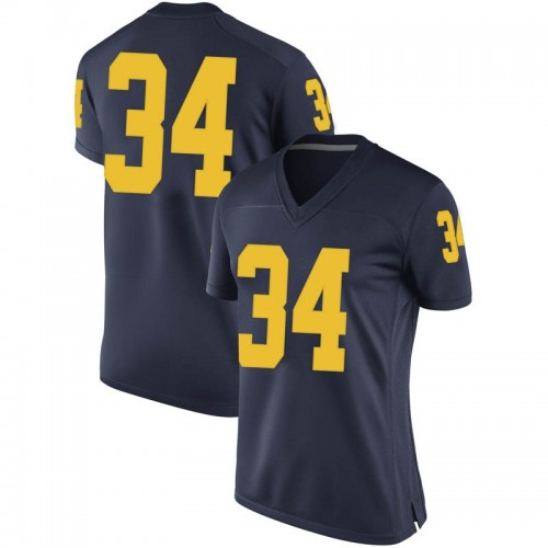 Women's Julian Garrett Michigan Wolverines Replica Navy Brand Jordan Football College Jersey