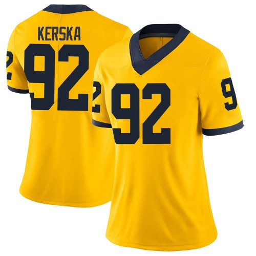Women's Karl Kerska Michigan Wolverines Limited Brand Jordan Maize Football College Jersey