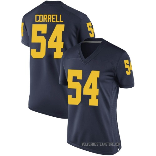 Women's Kraig Correll Michigan Wolverines Game Navy Brand Jordan Football College Jersey