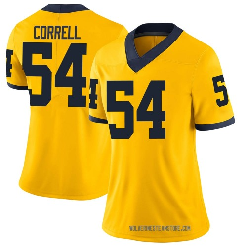 Women's Kraig Correll Michigan Wolverines Limited Brand Jordan Maize Football College Jersey