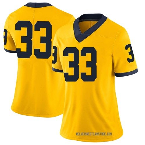 Women's Leon Franklin Michigan Wolverines Limited Brand Jordan Maize Football College Jersey