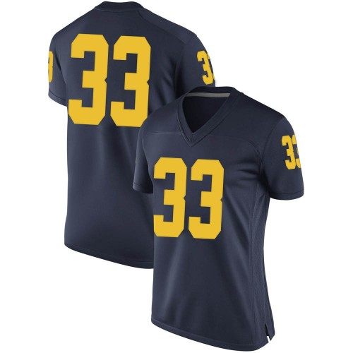Women's Leon Franklin Michigan Wolverines Replica Navy Brand Jordan Football College Jersey