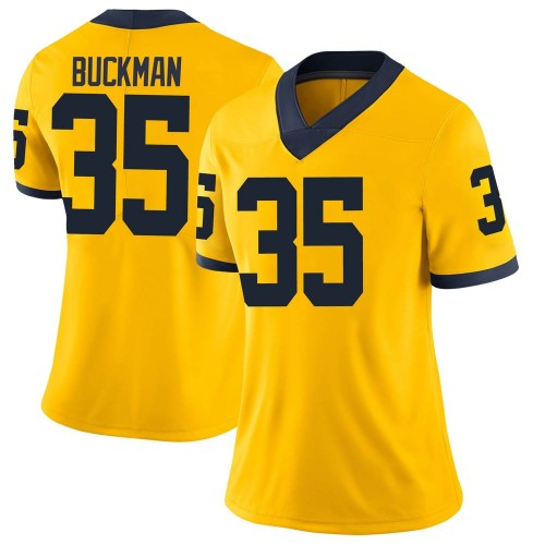 Women's Luke Buckman Michigan Wolverines Limited Brand Jordan Maize Football College Jersey