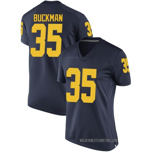 Women's Luke Buckman Michigan Wolverines Replica Navy Brand Jordan Football College Jersey