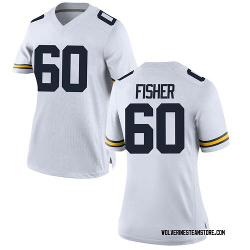 Women's Luke Fisher Michigan Wolverines Game White Brand Jordan Football College Jersey