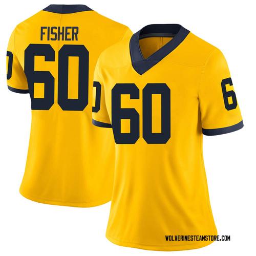 Women's Luke Fisher Michigan Wolverines Limited Brand Jordan Maize Football College Jersey