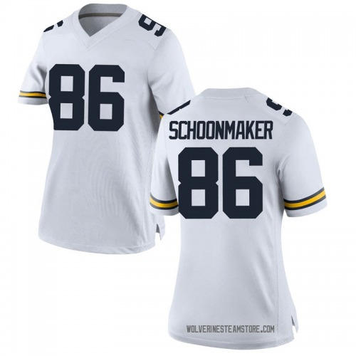 Women's Luke Schoonmaker Michigan Wolverines Replica White Brand Jordan Football College Jersey