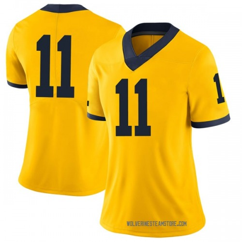 Women's Luke Wilson Michigan Wolverines Limited Brand Jordan Maize Football College Jersey
