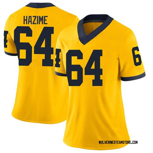 Women's Mahdi Hazime Michigan Wolverines Limited Brand Jordan Maize Football College Jersey
