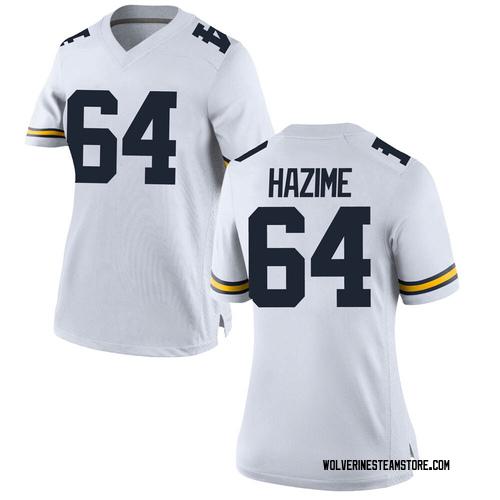 Women's Mahdi Hazime Michigan Wolverines Replica White Brand Jordan Football College Jersey
