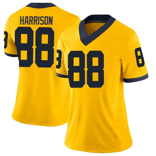 Women's Mathew Harrison Michigan Wolverines Limited Brand Jordan Maize Football College Jersey