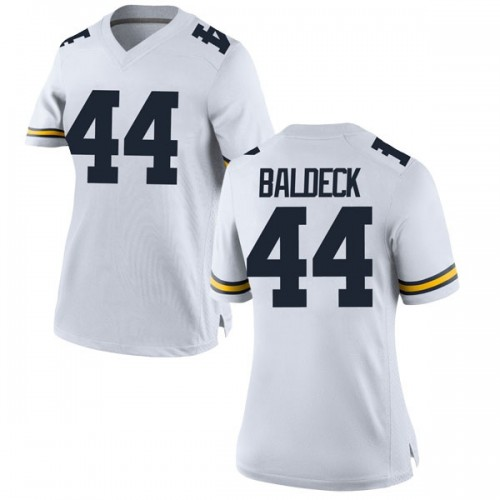 Women's Matt Baldeck Michigan Wolverines Replica White Brand Jordan Football College Jersey