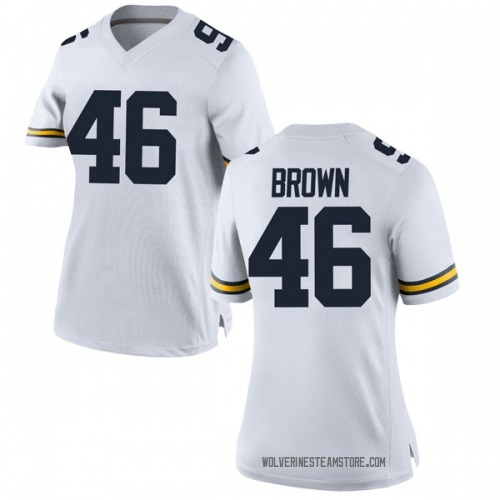 Women's Matt Brown Michigan Wolverines Replica White Brand Jordan Football College Jersey