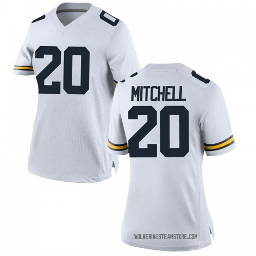 Women's Matt James Mitchell Michigan Wolverines Replica White Brand Jordan Football College Jersey